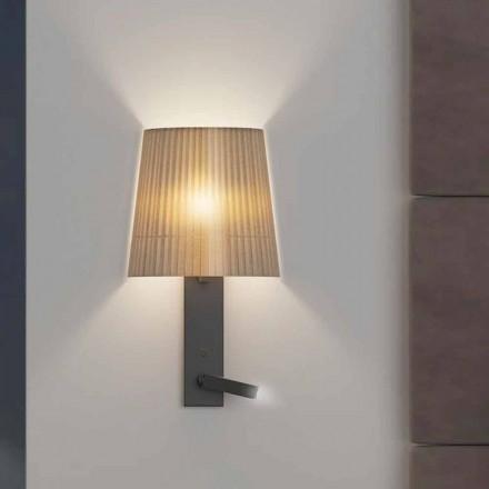 Design væglampe med struktur i sort metal og organza fremstillet i Italien - bom