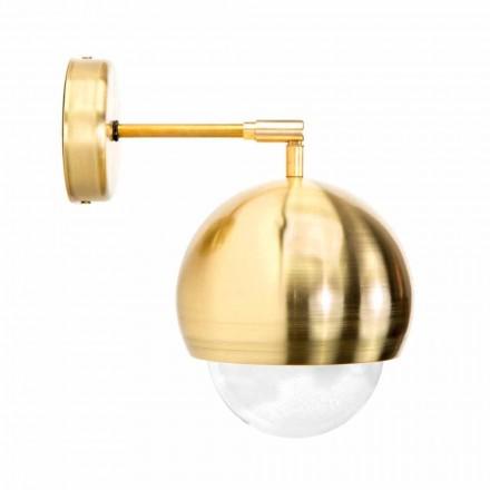 Væglampe i børstet messing og håndlavet glas fremstillet i Italien - Gandia