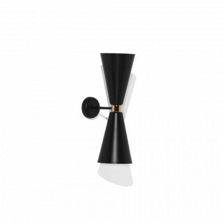 Moderne væglampe med mat sort metalkonstruktion fremstillet i Italien - Zaira