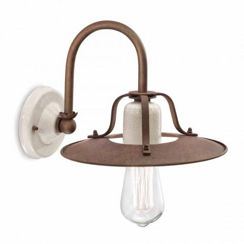 Applique industrielle stil, metal og keramik Ferroluce