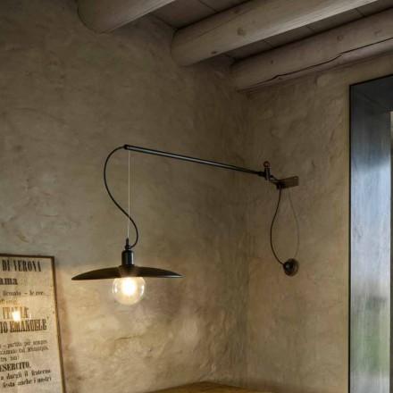 Væglampe i vintage messing med bevægelig arm - Meridiana Aldo Bernardi