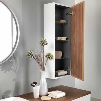 Badeværelsesmøbler i hvidt og valnøddetræ med håndvask, væggenhed og spejl - Renga