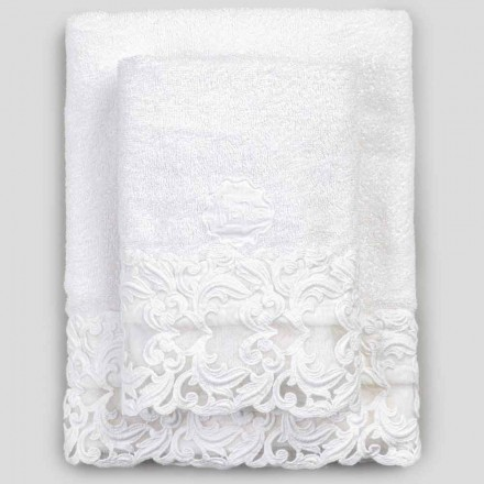 Hvid bomuldsfrottéhåndklæder med blonder, 2 stykker italiensk luksus - Sposi