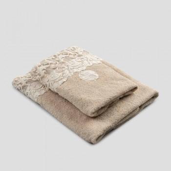 Ansigt og gæstehåndklæder i Terry bomuld med Farnese blonde 2 stykker - ægtefæller