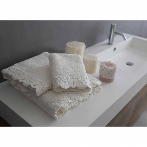 Ansigts- og gæstehåndklæder og badehåndklæde i Cotton Terry og Armonia Blonder - Frollo