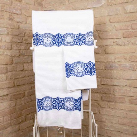 Italiensk håndlavet håndklæde med håndlavet tryk i bomuld - Viadurini af Marchi
