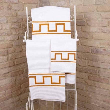 Kunsthåndklædehånd trykt i bomuld unikt stykke italiensk - Viadurini af Marchi