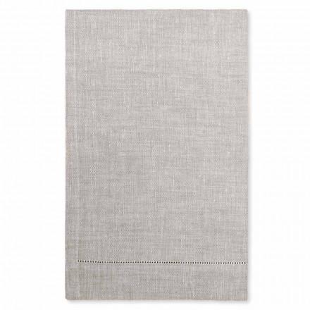Badehåndklæde i hvid eller naturlig linned, lavet i Italien, 2 stk. - Chiana