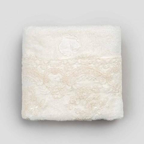 Cotton Terry Face Håndklæde med blonder og linned blandet kant - Ginova