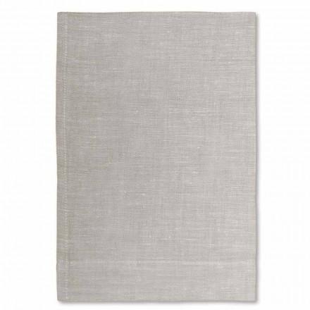Cremehvid eller naturlig ren linned badehåndklæde fremstillet i Italien, 2 stykker - velsignet