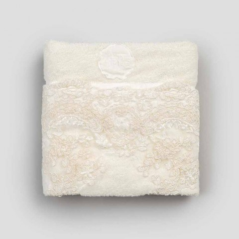 Gæstehåndklæde i Terry bomuld og linned blandet kant med blonder - Ginova