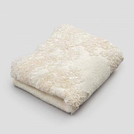 2 bomuldsfrottéhåndklæder og håndklæder til blonder af linned - Ginova