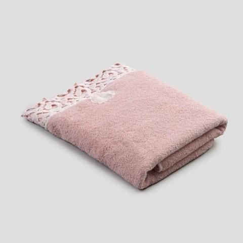 Ansigtshåndklæde i Terry bomuld med Poema-blonder 2 stykker 2 farver - slot