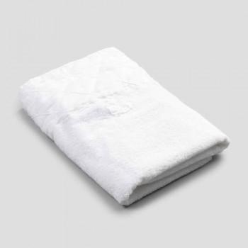 Ansigtshåndklæde i hvid bomuldsfrotté med geometrisk dekor - Gimmy