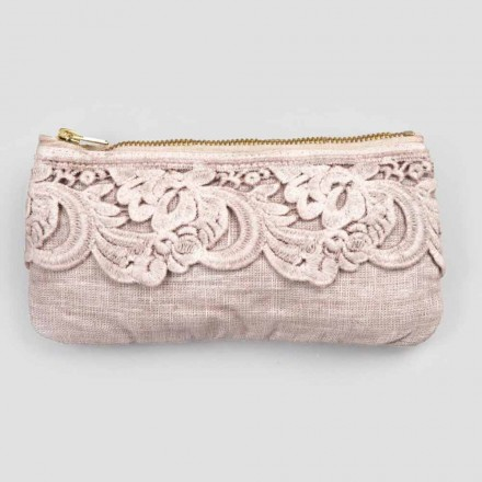 Sort eller lyserød linnetaske med blonder og lynlås 3 dimensioner 2 stykker - vuggevise