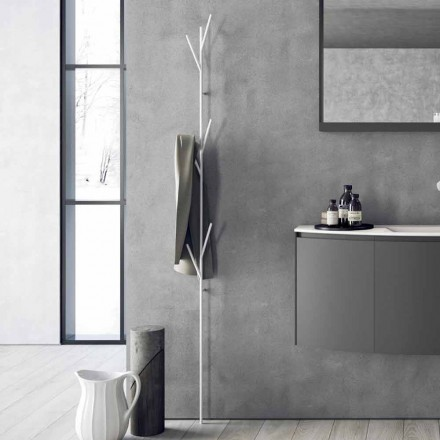 Moderne gulvbelægningsstativ i hvid eller krommetal - Kottac
