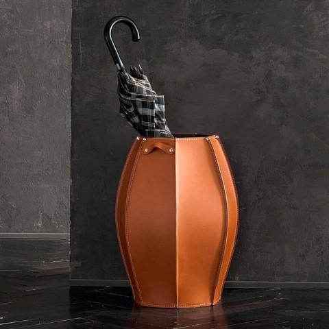 Audrey paraply står med moderne design i læder, lavet i Italien