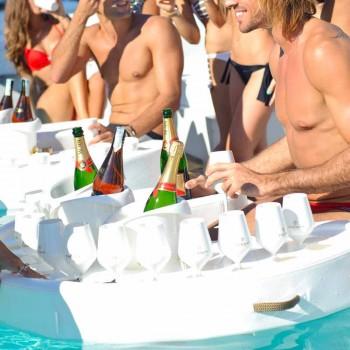 Bar ved pool Trona imiteret læder hvid nautiske og plexiglas