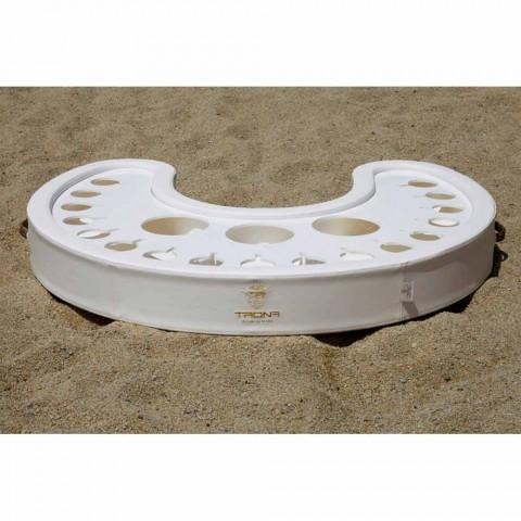 Trona flydende bar i hvid nautisk økologisk læder og plexiglas