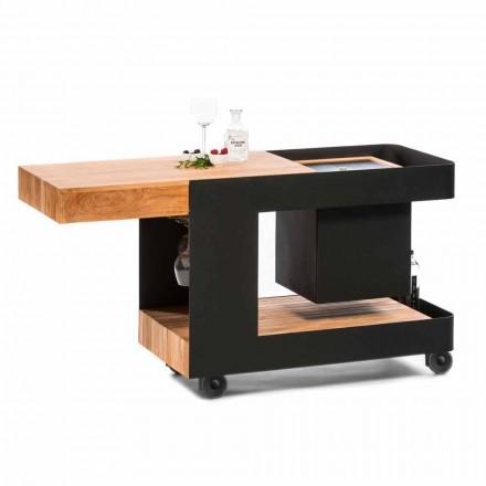 Moderne mobil bar på hjuldesign med træ- og stålbord - Giancalliope