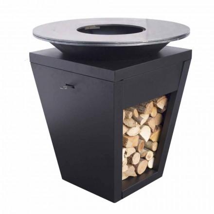 Træforbrændende grill med kogeplade og træholderrum - Ferran