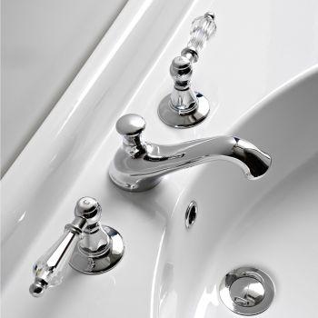 3-huls håndvaskarmatur med håndtag i klassisk stil i håndlavet messing - Noriana