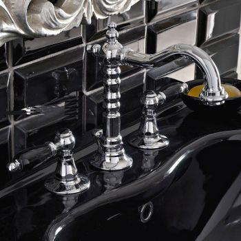 3-huls håndvaskarmatur med messingafløb i klassisk håndværksstil - Noriana