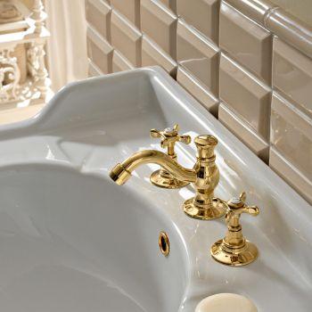 3-huls håndvaskarmatur med klassisk håndlavet messingafløb - Fioretta