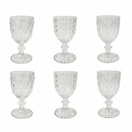 Pokal i gennemsigtigt glas med reliefdekoration 12 stykker - vrede