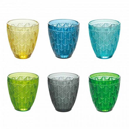 Vandglas med farvet glas med bladdekoration, 12 stykker - Indonesien