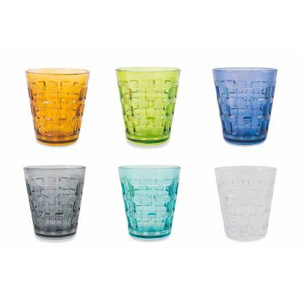 12 farvede service farvede glas vandbriller - vævning