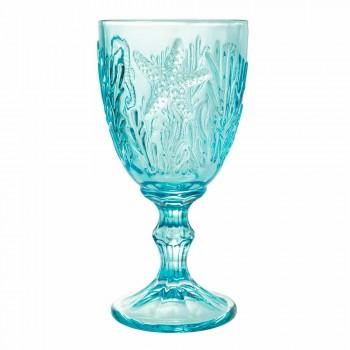 Briller Vin- eller vandfarvet glas Marine dekor 12 stykker - Mazara