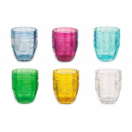 Farvede og elegante briller i glas Service af 12 stykker til vandskrue
