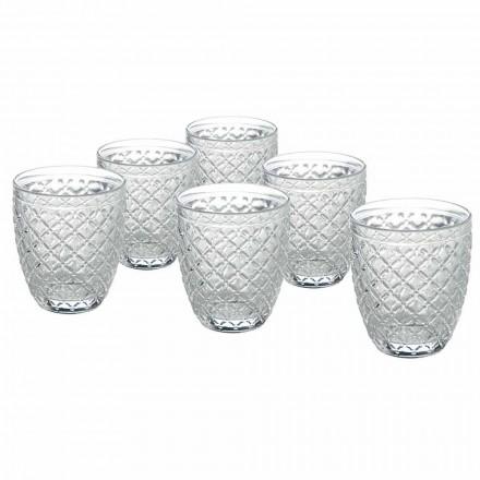 Gennemsigtige glasvandbriller med udskårne dekorationer 12 stykker - Rocca
