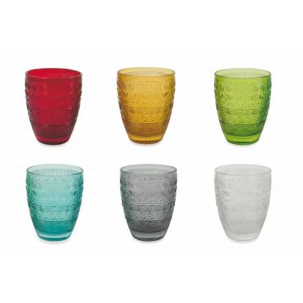 Moderne farvet glas serveringsbriller til vand - Folk