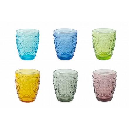 Dekorerede og farvede briller Vandsæt 12 stykker - Pastel-Palazzo