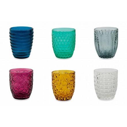 Moderne farvet glas dekoreret briller, der serverer vand 12 stykker - blanding