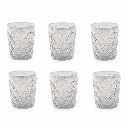 Gennemsigtige briller med dekorationer, 12 stykke vandtjeneste - Marokko