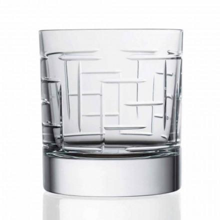 Dobbelt gammeldags krystalskotsk whiskyglas 12 stykker - arytmi