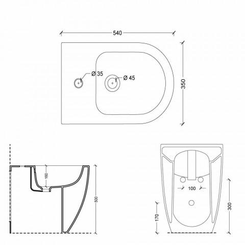Bidet i moderne design keramisk Shine Square Open uindfattede H50 cm