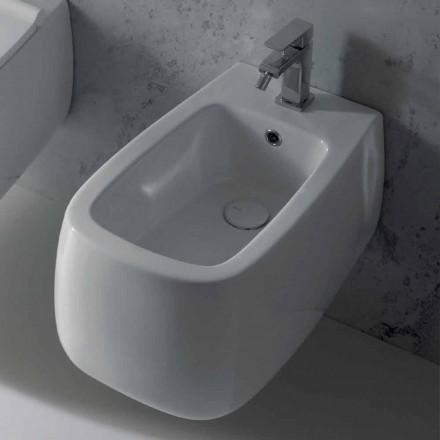 Design suspenderet bidet i hvid Gaiola keramik, lavet i Italien
