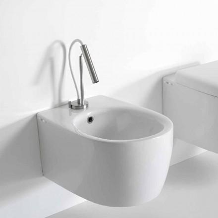 Vægthængt bidet i moderne design i farvet keramik fremstillet i Italien - Lauretta
