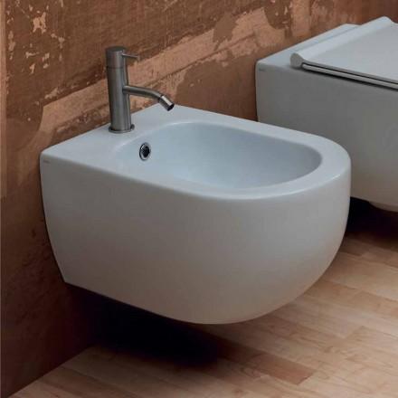 Hung bidet i moderne design keramisk stjerne 55x35cm Made in Italy