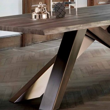 Bonaldo Big Table massivt træbord naturlige kanter lavet i Italien