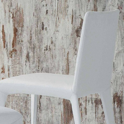 Bonaldo Filly polstret design stol i hvidt læder lavet i Italien
