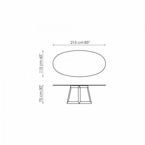 Bonaldo Greeny ovalt bord i krystal og træ design lavet i Italien