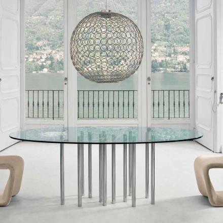 Bonaldo Mille rundbord i krystal og forkromet stål lavet i Italien