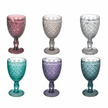 Vin eller vandbæger i farvet eller gennemsigtigt glas med dekorationer, 12 stykker - Rocca