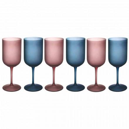 Farvede vinglas i frostet glas med iseffekt 12 stykker - Norvegio