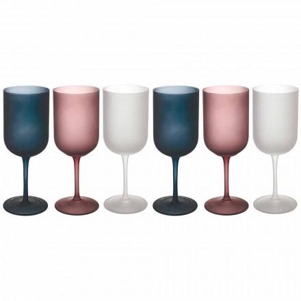 Farvet gruseffekt frostet glas vinglas, 12 stykker - efterår